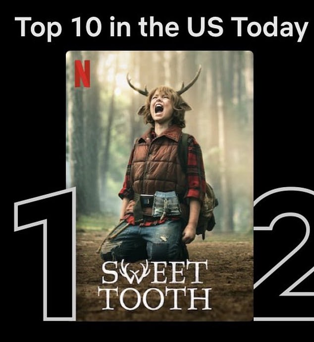 The last laugh:Platt didn't add an extra commentary but simply added a screenshot of Sweet Tooth hovering at the number one spot on Netflix