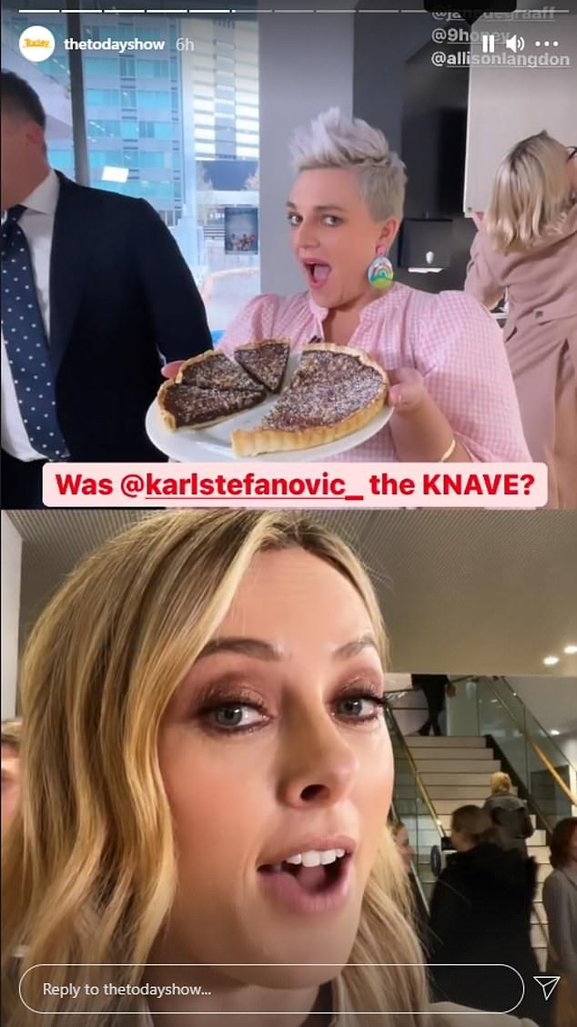 Accusations: In an earlier video, host Allison Langdon (below) was seen singing a nursery rhyme to Karl via FaceTime - where she had accused him of stealing not only a pie, but a piece of tart baked by chef Jane de Graaff (above)