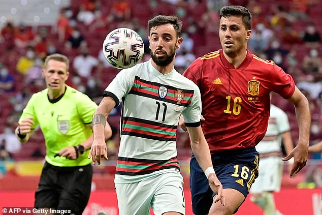 Bruno is pictured in action during the friendly against Spain ahead of a huge Euros for him