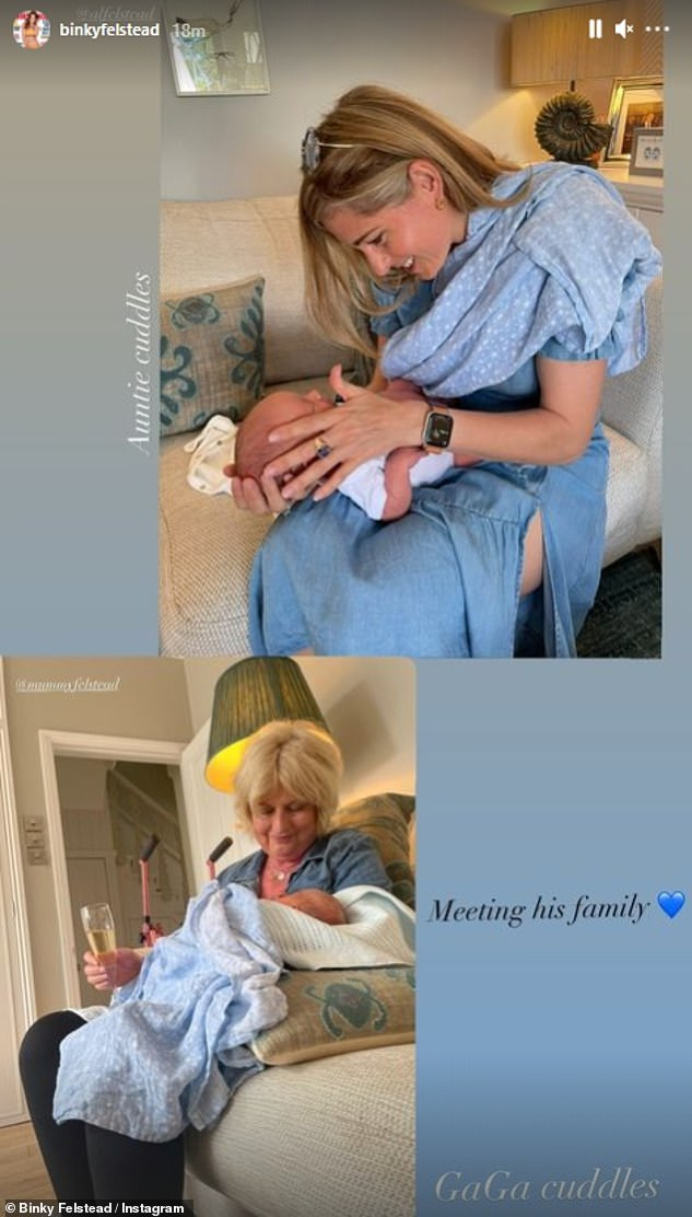 Aw: Sharing the heartwarming moment her mother and sister met her newborn son to her Instagram Story, Binky captioned the sweet snaps with: 'Meeting his family' followed by a blue heart emoji