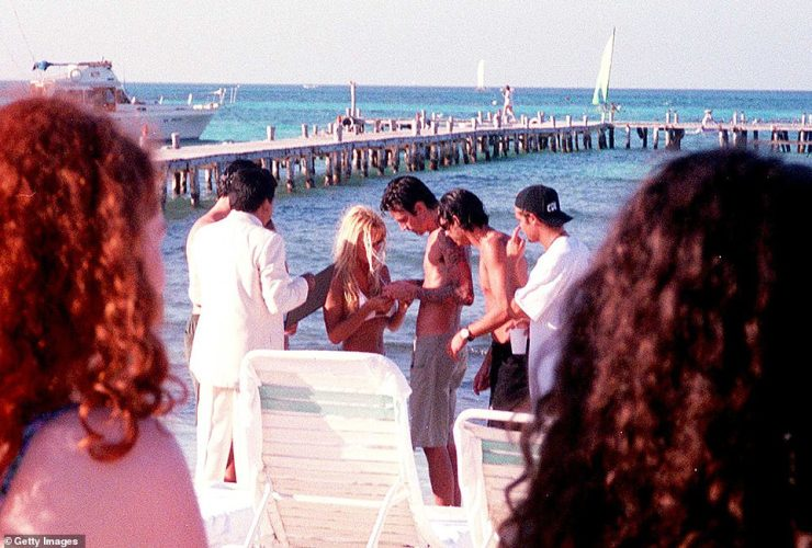 In real life:The Baywatch icon and the Mötley Crüe drummer famously tied the knot on Feb. 19, 1995, on a beach in Cancun, Mexico, in front of just eight guests after a four-day courtship period