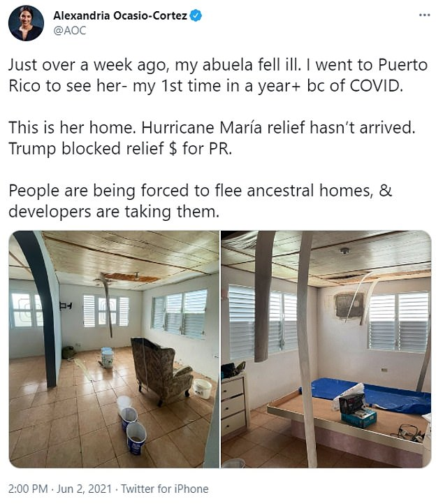 AOCblamed the damage on former President Donald Trump for blocking aid to the island ravaged by Hurricane Maria