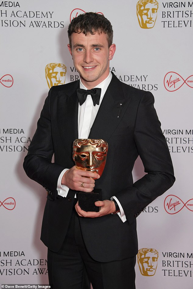 Proud:Paul Mescal's father has said his family were 'absolutely delighted' by his BAFTA win