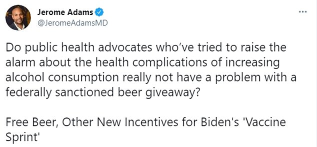 Jerome Adams, former U.S. surgeon general under President Trump, questioned the value of free beer as a vaccine incentive