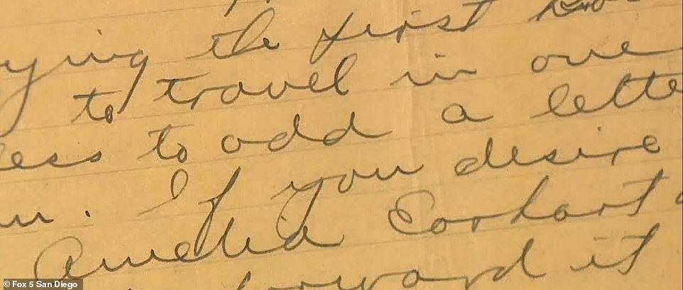 Experts are amazed by the letter because it is the last complete account of the trip days before the pilots went missing and it could provide a trail to where the plane may have been resting all these years. Pictured is 'Amelia Earhart'