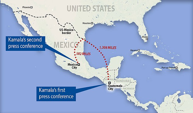 Harris' first international trip included stops in Guatemala and Mexico, 1,308 and 582 miles away respectively from the Rio Grande, where families risk their lives ever day trying to cross into the U.S.