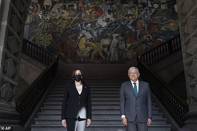 Kamala Harris and Mexican PresidentAndres Manuel Lopez Obrador had a bilateral meeting in Mexico City on Tuesday as the vice president still refuses to visit the southern border but says the U.S. is 'embarking on a new era' of relations