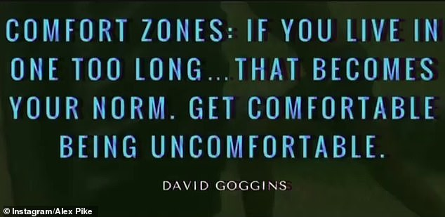 The first quote read: 'Comfort zones: If you live in one too long... that becomes your norm. Get comfortable being uncomfortable'