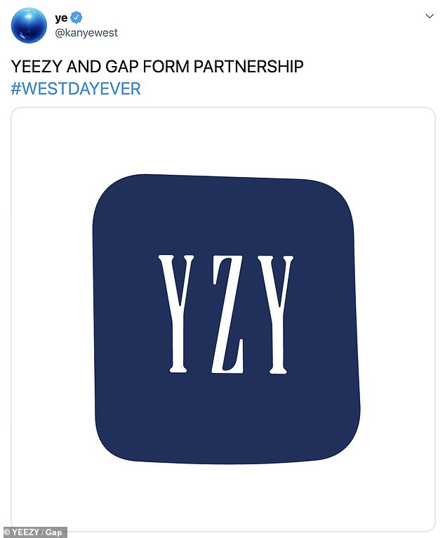 Homage: Last year, Kanye announced the partnership by unveiling a new, slightly asymmetrical Yeezy logo in the style of the classic Gap logo