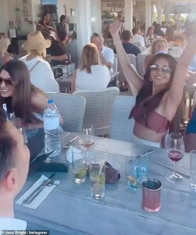 Fun times:Taking to her Instagram Story, Jess, 35, shared several updates from the trip on Monday which included sizzling selfies with Michelle, dancing and laughter