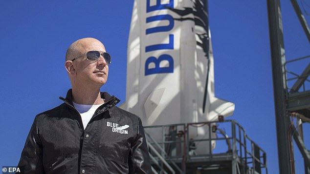 Ready to launch: Blue Origin founder Jeff Bezos inspects New Shepard's West Texas launch facility.One seat on the flight, scheduled for July 20, is being auctioned to the highest bidder