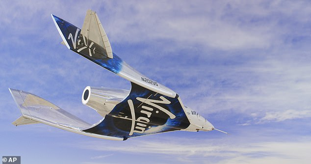 Ride: Branson, 70, would fly to space on his VSS Unity SpaceShipTwo rocket plane (pictured)