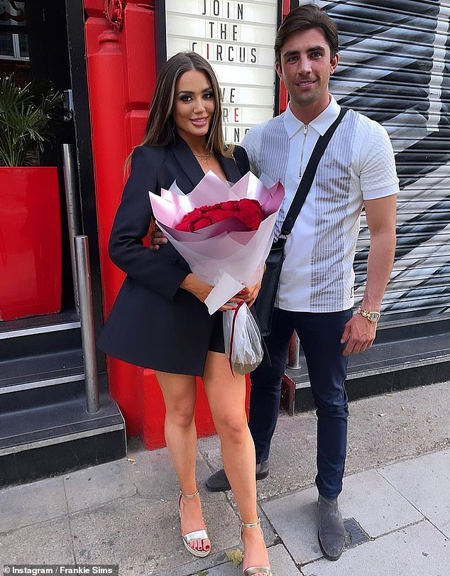 Loved-up: Frankie Sims looked completely smitten as she posed with her beau Jack Fincham for a sweet snap shared to Instagram on Tuesday