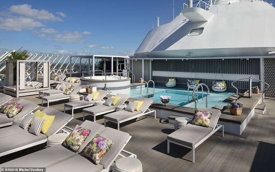 In the adults-only Serenity Retreat on big Celebrity ships there's a relaxing zen-like atmosphere and a full-service bar