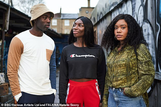 Winner: Following its three wins at the British Academy Television Craft Awards in May, I May Destroy You, won two more BAFTAs on Sunday, for Mini-Series and Leading Actress for Michaela Coel (pictured middle)