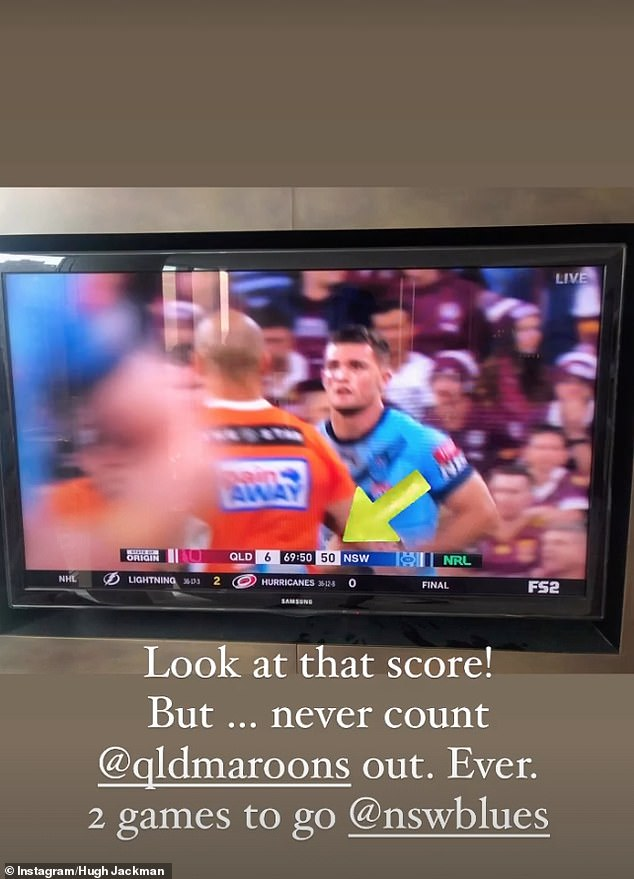 That's a win!The actor also shared another photo of the final score after the game and captioned the picture: 'Look at that score! But never count QLD Maroons out. Ever. Two games to go'