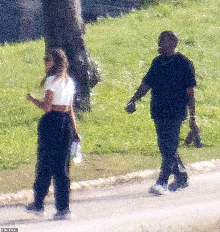 Happy sighting: Both Irina and Kanye appeared to be in a joyous mood as they were seen on a romantic stroll in France