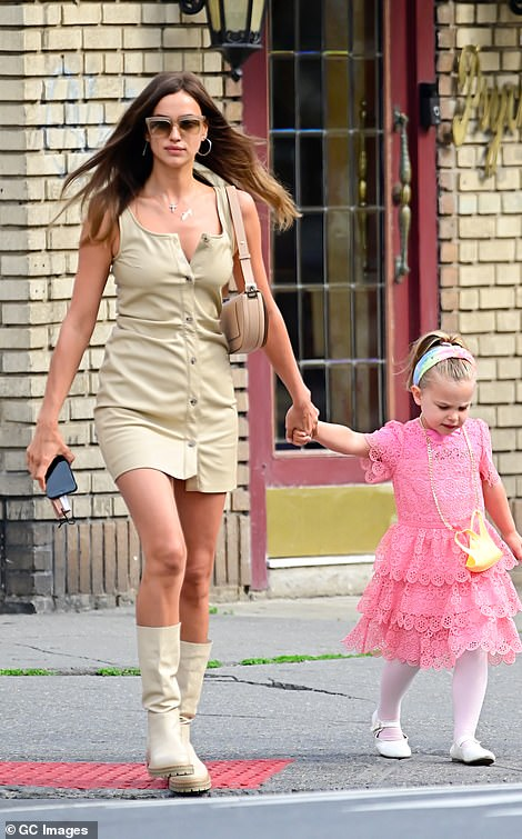 Mom-and-daughter: Irina shares her four-year-old Lea with ex Bradley Cooper (pictured this month)
