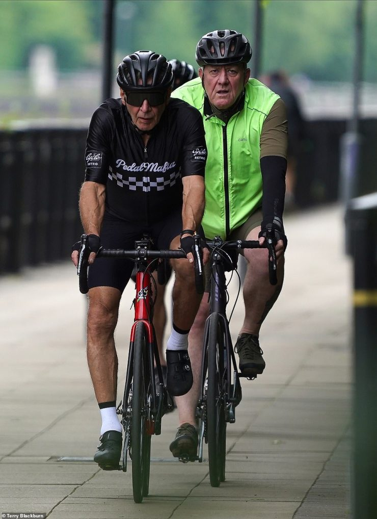 Action star: Harrison looked focused as he cycled along in the city