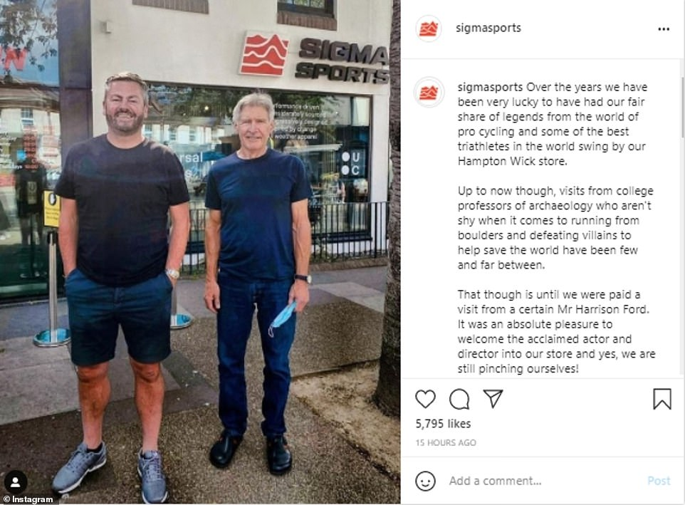 Doing the rounds:The diner wasn't the only local spot Harrison has visited, as the day before he also delighted the staff at Sigma Sports bicycle shop at Hampton Wick