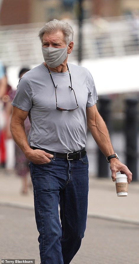 Still got it:The Hollywood actor, 78, showed off his muscular frame in a tight grey T-shirt as strolled around with his bodyguard