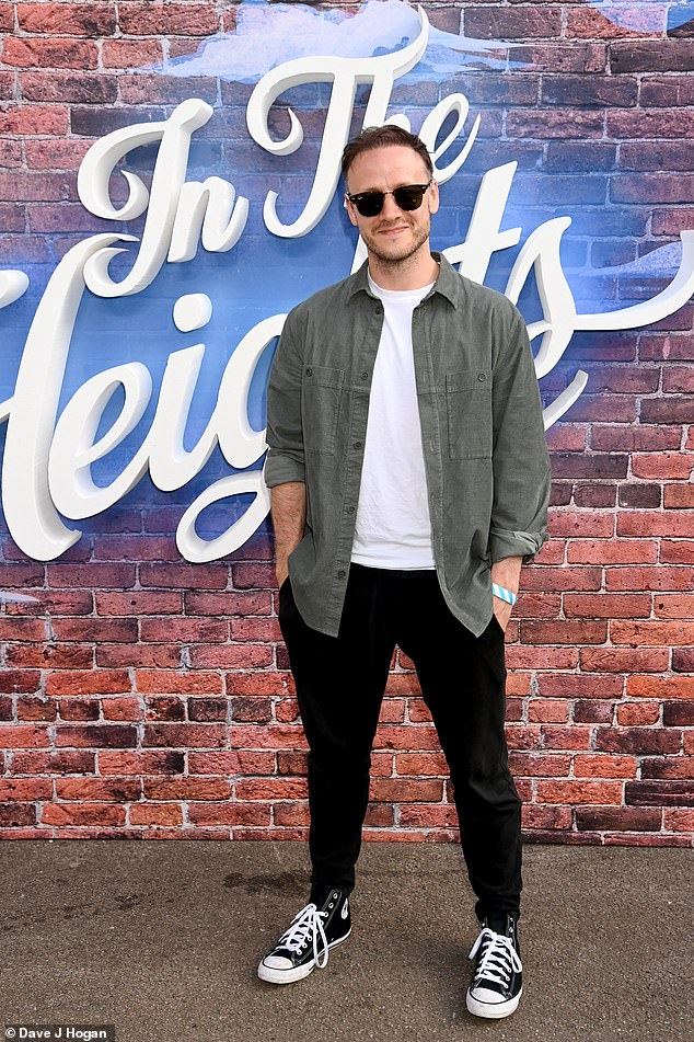 Chilled:Also attending the event was Karen's former husband Kevin Clifton, who cut a casual figurein a grey shirt, worn with a white T-shirt, black joggers and monochrome trainers