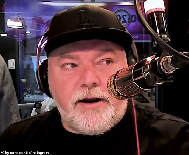 'What a prick': Kyle Sandilands (pictured) exploded at 'ginger balls' Ben Fordham on Thursday after his radio rival ruined his 50th birthday by announcing he was 60 during a 2GB bulletin