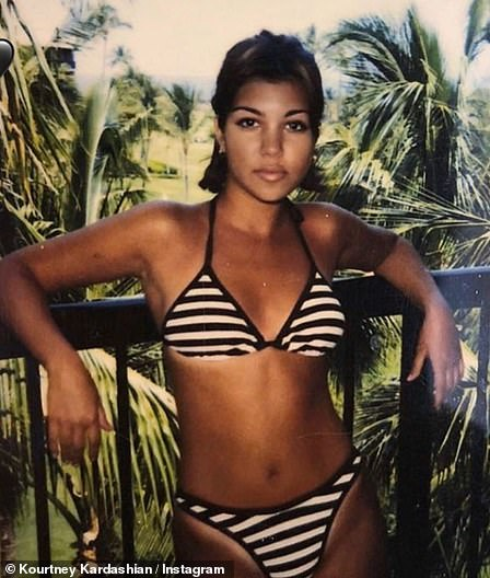 Throwback: Kourtney is pictured at the age of 16 prior to having an y cosmetic enhancements