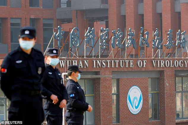 Young said she would 'never make that commitment' to cut all future funding to the Wuhan Institute of Virology in China (pictured being guarded by security)