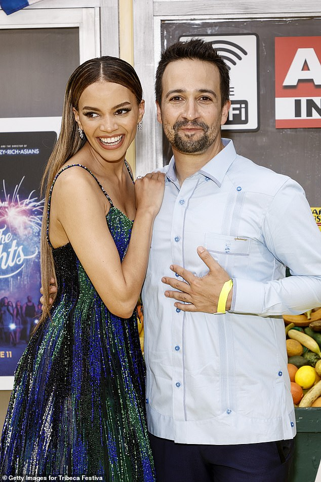 Early Days: Miranda wrote In the Heights in 1999 when he was a sophomore at Weslyan University, where he first played as a single (pictured with actress Leslie Grace)
