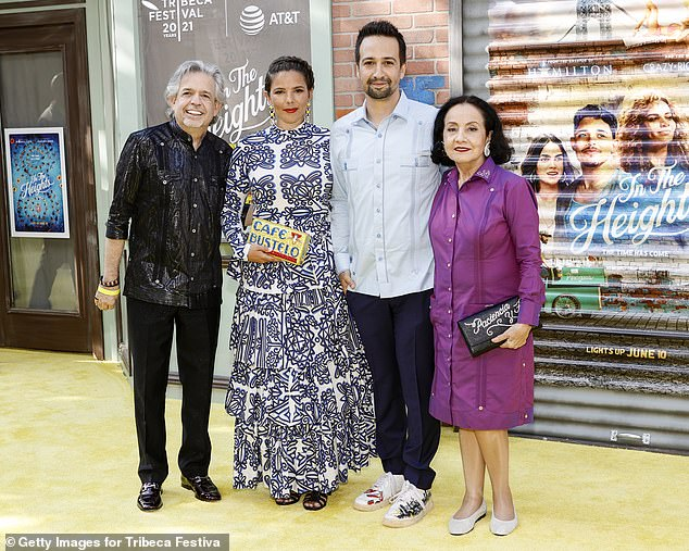 Family: Miranda's parents Luis A. Miranda Jr. and Lowes Towns Miranda also attended the big night to celebrate their son's impressive achievement (pictured with Nadal on the red carpet)