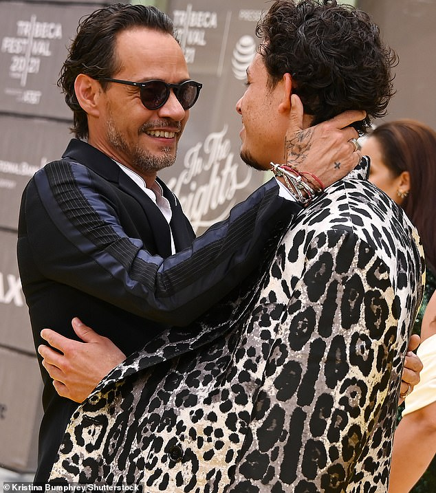 So sweet:Marc Anthony, who also has a part in the new In The Heights movie, was spotted sharing an affectionate moment with Anthony