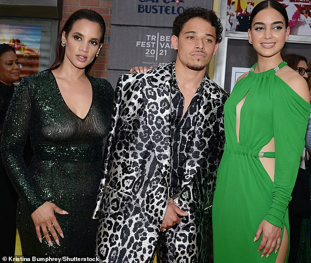 Trio:Anthony got in a bit of mingling at the premiere including posing up for the shutterbugs with his co-stars Dascha Polanco and Melissa Barrera