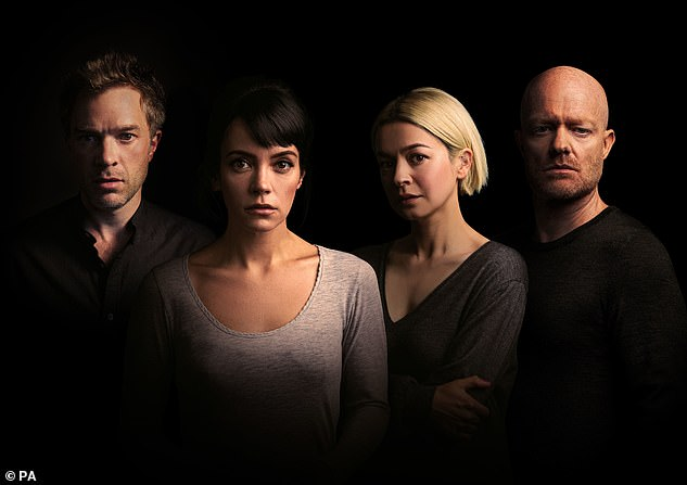 Cast:The chart-topping singer, 36, will play the character Jenny in 2:22 - A Ghost Story, a supernatural thriller about four friends caught up in a night of high tension (pictured with L-R City Of Angels actor Hadley Fraser, ex-EastEnders starJake Wood, and Julia Chan)