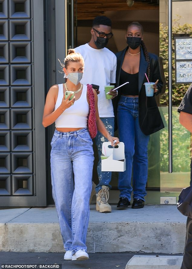 Fueling up:After shopping at H.Lorenzo in West Hollywood, Hailey and her tight knit crew were seen grabbing juices and smoothies at a nearby restaurant