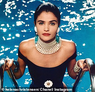 Jaw-dropping: The model recreated an iconic 1990 Chanel shoot which saw her emerged from a pool i