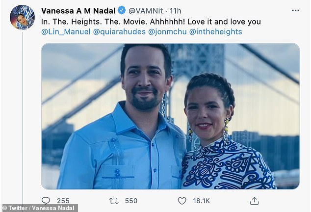 Sweet: Ahead of the New York premiere on Wednesday, Vanessa gently thought about how her husband came to write the hit story as it took to Twitter