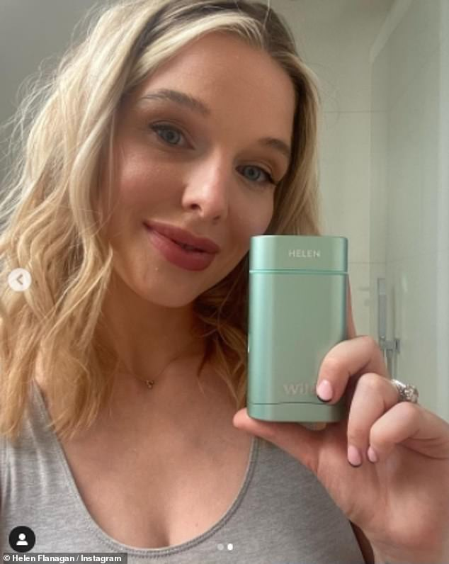 Radiant:Promoting a natural deodorant, the soap star, 30, admitted that she was making more 'eco friendly choices' while breastfeeding her son Charlie, three months