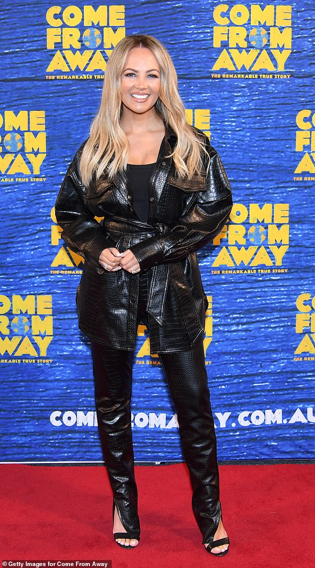 Hell for leather: Samantha Jade looked every bit the rock star in leather-look pants with splits at the ankles