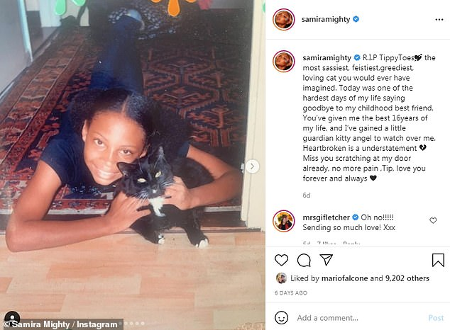 'Heartbroken is an understatement': Samira shared a childhood picture of herself with her pet cat Tippy Toes last week, saying she was sad to have said goodbye to her companion