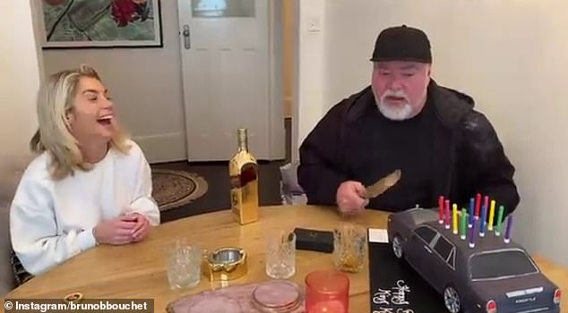 Yum! In footage shared to Instagram by his manager Bruno Bouchet, the radio star is seen marvelling at the bespoke confection as he sits at a dining room table clutching a knife