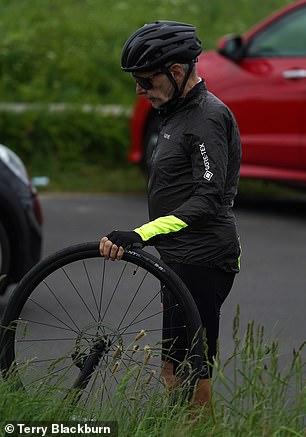 Preparation: He was seen fixing up his bike