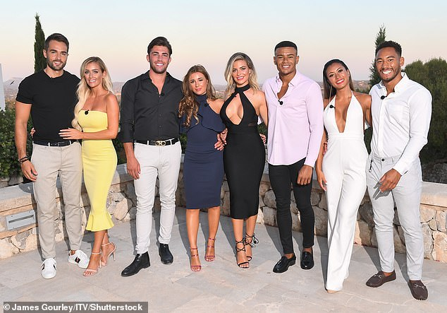 As seen on screen: Wes (LR) reaches the finals of Love Island 2018 alongside Paul Knopes, Laura Anderson, Jack Fincham, Danny Dyer, Megan, Kazimir Crossley and Josh Denzel.