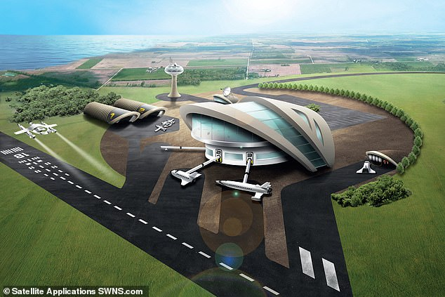 Sir Richard Branson's rocket company is aiming to open the Newquay-based spaceport (shown in an artist's impression) by spring 2022, when the first satellites will be launched from UK soil