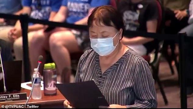 Van Fleet is seen giving her impassioned speech at the Loudoun County School Board meeting