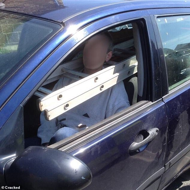 Another person, who is believed to live in the US, went viral on social media after being photographed driving with a ladder around his neck