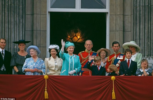 1990 — HAPPY TIMES:Queen Elizabeth II and Prince William wave from the balcony of Buckingham Palace during the Trooping The Colour Ceremony, The Queen's Official Birthday. (Left to right) Prince Edward, Duchess Of York, the Queen Mother, Princess Margaret, Queen Elizabeth II, Prince Philip, Prince William, The Grand Duchess Josephine Charlotte Of Luxembourg, Prince Harry, Prince Charles, Lord Frederick Windsor, Princess Diana and Lady Rose Windsor.