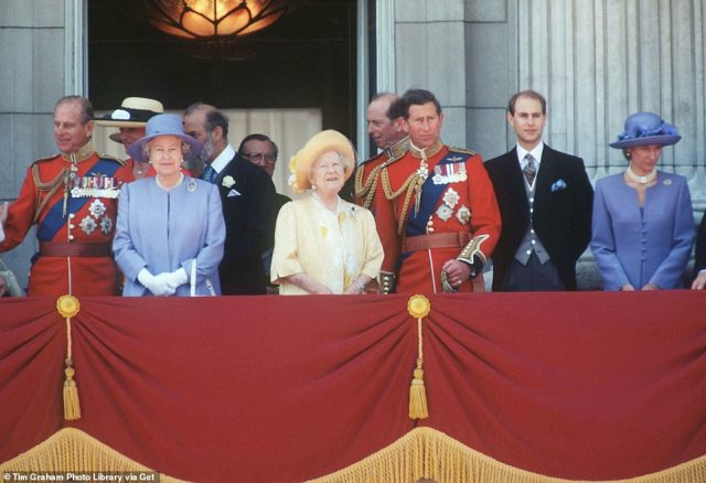 1996 — ENJOYING THE DAY: The Queen Mother with other members of the Royal Family on the balcony of Buckingham Palace for Trooping the Colour.