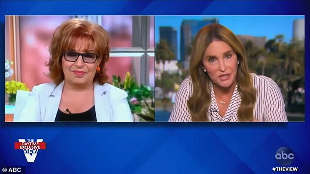Caitlyn Jenner (right), who is running for governor of California as a Republican, refused to acknowledge Donald Trump's election loss when asked to do so by The View's Joy Behar (left) on Thursday