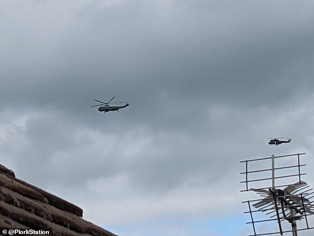 United States Marine Corps aircraft flies over at St James Palace on June 10 in London